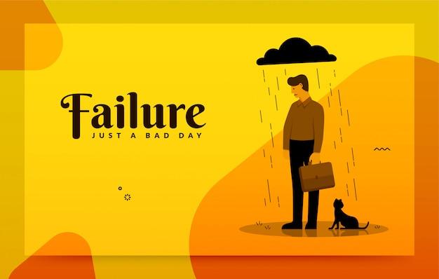 Mislukte en beklemtoonde zakenman, concept bedrijfsmislukking