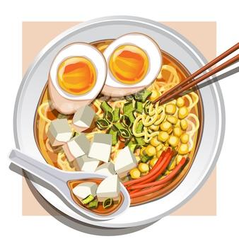 Miso ramen met zachtgekookte eieren