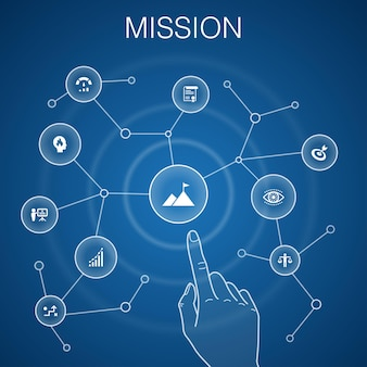 Missie concept, blauwe background.growth, passie, strategie, prestatie iconen