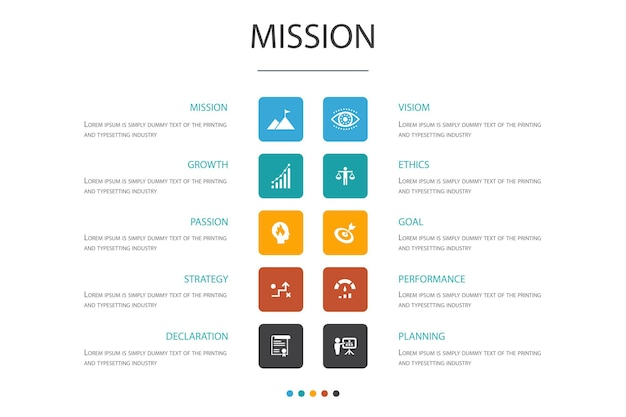 Missie infographic cloud design template.growth, passion, strategy, performance simple icons