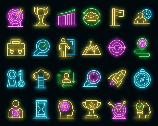 Missie pictogrammen instellen. overzicht set missie vector iconen neon kleur op zwart