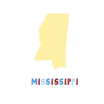 Mississippi kaart geïsoleerd. vs collectie. kaart van mississippi - geel silhouet. doodle stijl belettering op wit