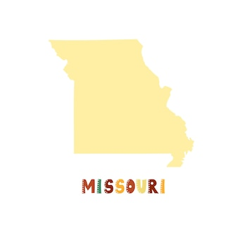 Missouri kaart geïsoleerd. vs collectie. kaart van missouri - geel silhouet. doodle stijl belettering op wit