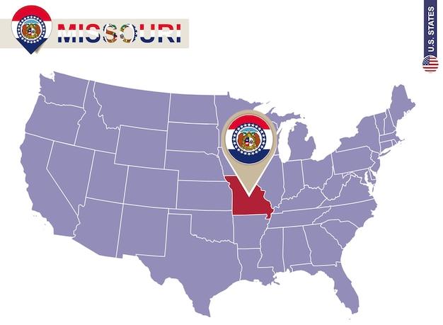 Missouri state op de kaart van de v.s. vlag en kaart van missouri. amerikaanse staten.