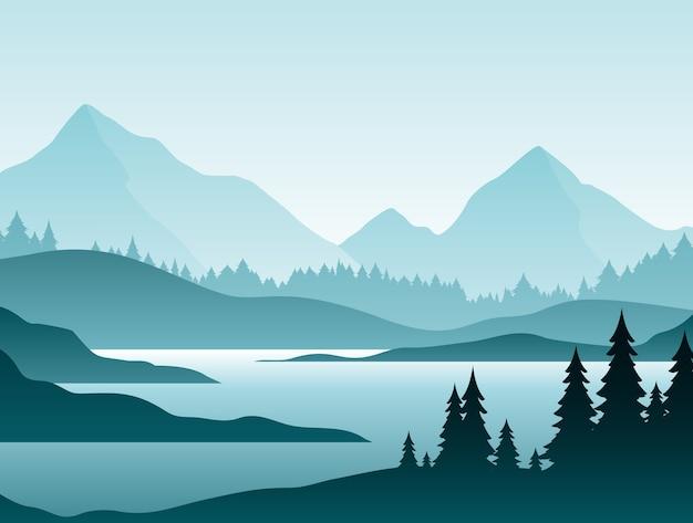 Mistig boslandschap natuurlandschap bergdal en rivier in de vroege ochtendscène