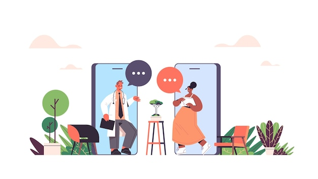 Mix race artsen in smartphone screend bespreken tijdens video-oproep chat bubble communicatie online overleg gezondheidszorg geneeskunde medisch advies