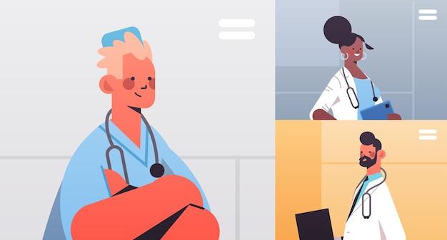 Mix race artsen in web browservensters bespreken tijdens videoconferentie geneeskunde gezondheidszorg online communicatie concept horizontale portret vectorillustratie