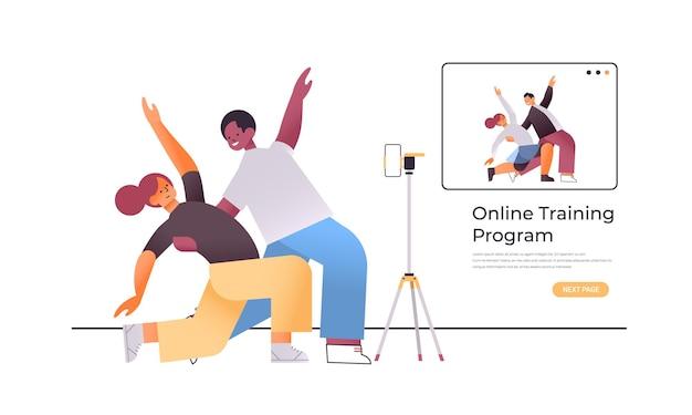 Mix race man vrouw dansers paar doen dansende oefeningen online video trainingsprogramma workout concept