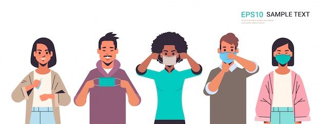 Mix race mensen dragen gezichtsmasker covid-19 bescherming stap voor stap correcte methode hoe masker te dragen