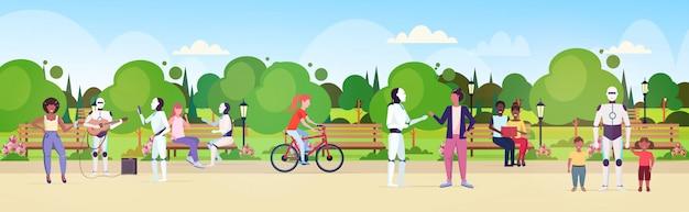 Mix race mensen en robots wandelen in stadspark