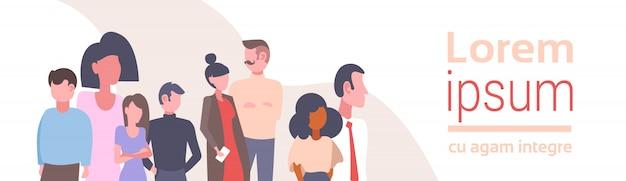 Mix race mensen groep zakelijke bijeenkomst brainstormen concept zakenlieden en zakenvrouwen succesvolle teamwork stripfiguren portret vlakke horizontale kopie ruimte