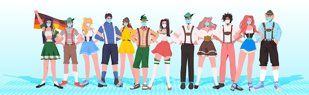 Mix race mensen in traditionele kleding met maskers om coronavirus pandemie oktoberfest viering concept horizontaal te voorkomen