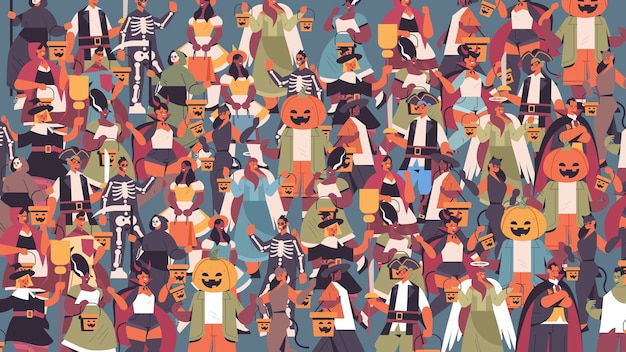 Mix race mensen in verschillende kostuums vieren happy halloween party concept schattige mannen vrouwen staan samen portret horizontale vector illustratie