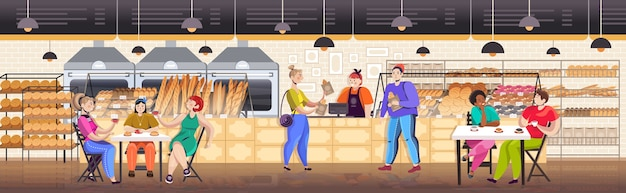 Mix race mensen ontbijten in bakkerij mannen vrouwen eten en kopen van vers brood restaurant interieur volledige lengte horizontale vectorillustratie