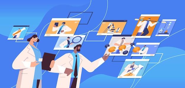 Mix race-onderzoekers bespreken tijdens videogesprek wetenschappers die chemische experimenten maken moleculaire engineering online communicatie