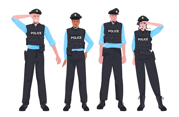 Mix race politieagenten in tactische uitrusting staan samen oproerpolitie agenten demonstranten