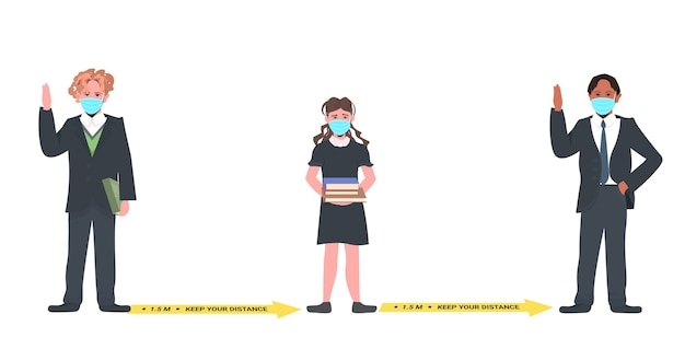 Mix race schoolkinderen in maskers afstand houden om coronavirus pandemie sociaal afstandsconcept horizontaal te voorkomen