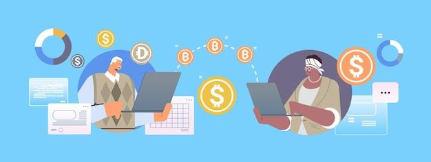 Mix race senior zakenmensen verzenden geld online overschrijving internet betaling cryptocurrency blockchain concept horizontaal portret vectorillustratie