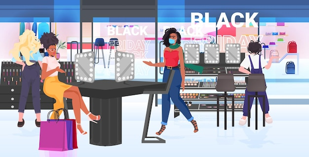 Mix race vrouwen in maskers die cosmetica kiezen in schoonheidssalon zwarte vrijdag grote verkoop concept horizontale volledige lengte vectorillustratie