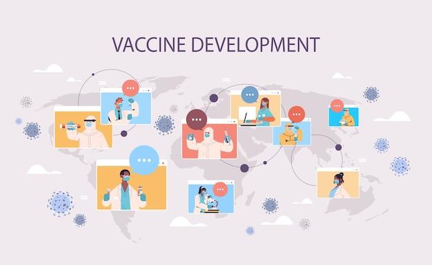 Mix race wetenschappers in web browservensters vaccin ontwikkelen om te vechten tegen coronavirus vaccin ontwikkeling zelfisolatie concept wereldkaart achtergrond horizontale illustratie