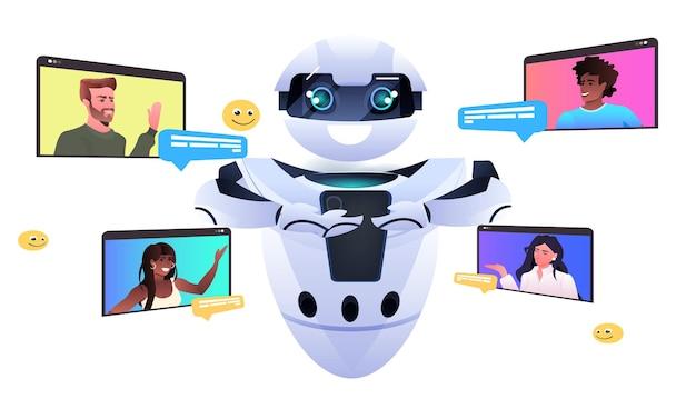 Mix racemensen die discussiëren met chatbot robot kunstmatige intelligentie technologie online communicatieconcept