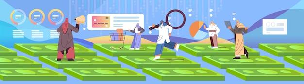 Mix racemensen die op geldbankbiljetten staan en digitale marketing bedrijfsstrategie en analyseconcept winkelen