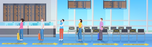 Mix racepassagiers die afstand houden om coronavirus te voorkomen sociaal afstandsconcept luchthaventerminal interieur horizontaal