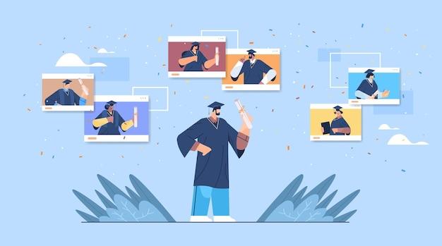 Mix ras afgestudeerde studenten in webbrowservensters gelukkige afgestudeerden vieren academisch diploma diploma onderwijs universitair certificaat