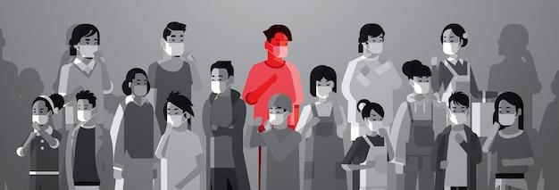 Mix ras mensen menigte in beschermende maskers met één ziek persoon infectie verspreiding epidemie stop coronavirus concept wuhan pandemie medisch gezondheidsrisico portret horizontaal