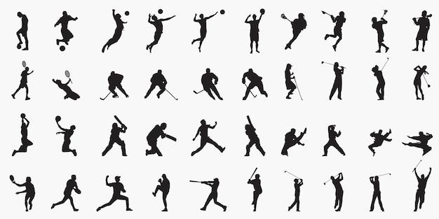 Mix silhouetten van sportspelers
