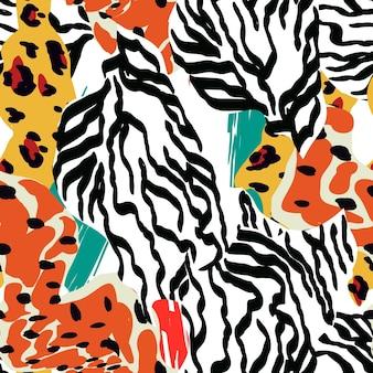 Mix snake spot vector naadloze patroon. camouflage zebra textuur. kleurrijk art hair tiger design. abstracte luipaard etnische print.