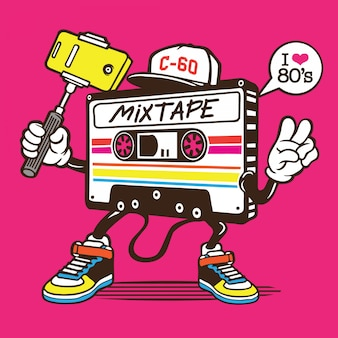 Mix tape cassette selfie character design
