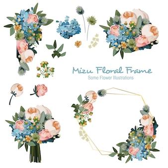 Mizu geometrische bloemen frame ornament