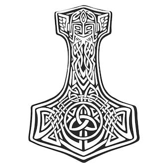 Mjellner thor's hamer vectorillustratie in grafische stijl clipart tattoo hammer of god
