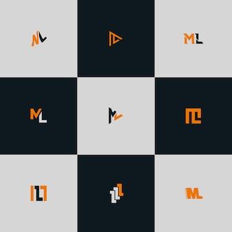 Ml letter logo bundel monogram set Premium Vector