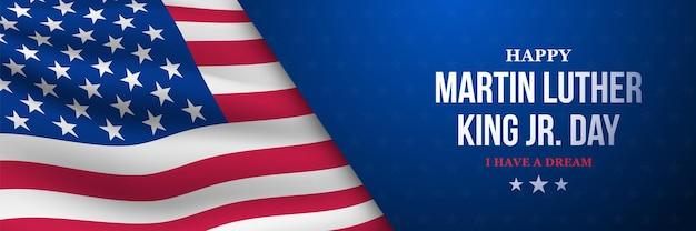 Mlk vector banner martin luther king jr day achtergrond met amerikaanse vlag