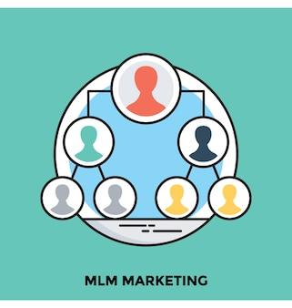 Mlm marketing platte vector pictogram