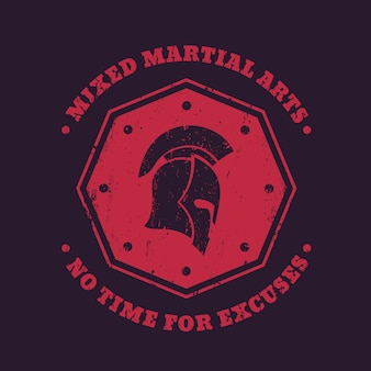 Mma, mixed martial arts vintage embleem, logo, print met spartaanse helm op rode achthoekige vorm