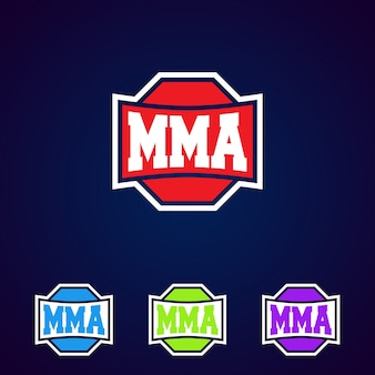 Mma. modern professioneel gemengd het embleemontwerp van de vechtsportensjabloon.