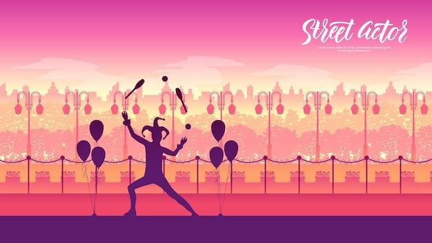Mme voert een pantomime uit genaamd jongleren met sinaasappels. clown op stelten met ballonnen op landschap.
