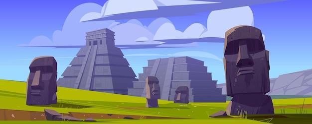 Moai-standbeelden en piramides, republiek chili reizen beroemde oriëntatiepunten stenen hoofden op groen veld