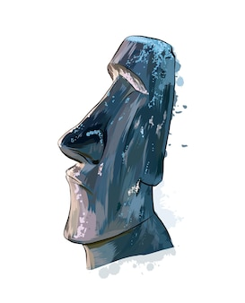 Moai statue, easter island statue uit een scheutje aquarel, gekleurde tekening, realistisch.