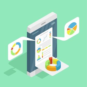 Mobiel apparaat met verschillende diagrammen en afbeeldingen.