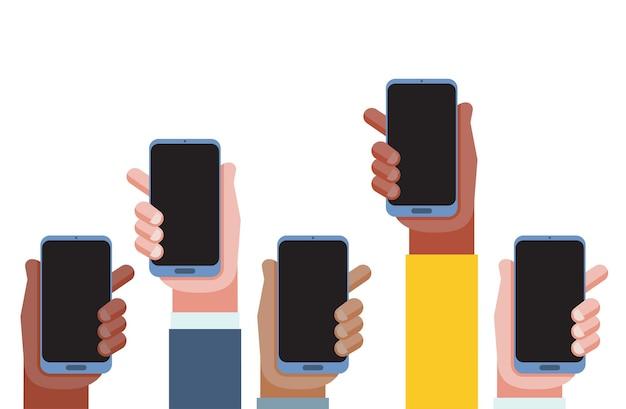 Mobiel applicatieconcept. handen met telefoons. lege schermen. Premium Vector
