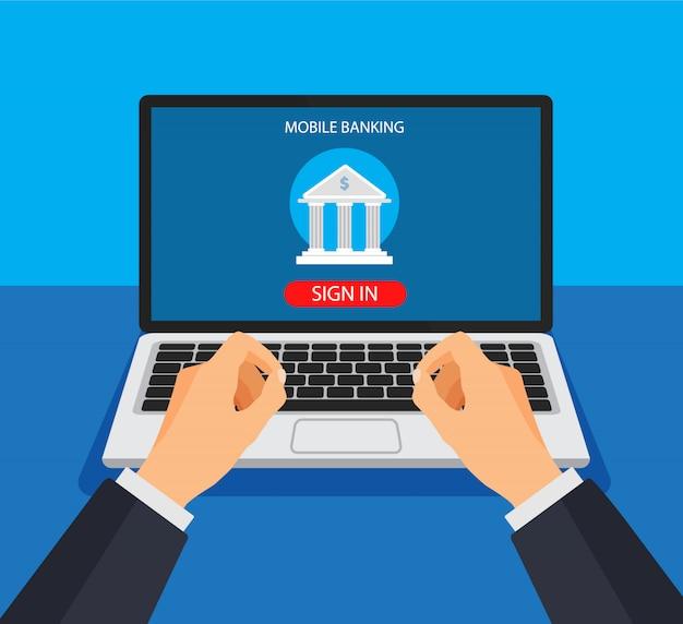 Mobiel bankieren concept. geldtransactie, zakelijke en mobiele betaling. de zakenman houdt een telefoon en ondertekent in app. illustratie in een platte trendy stijl.