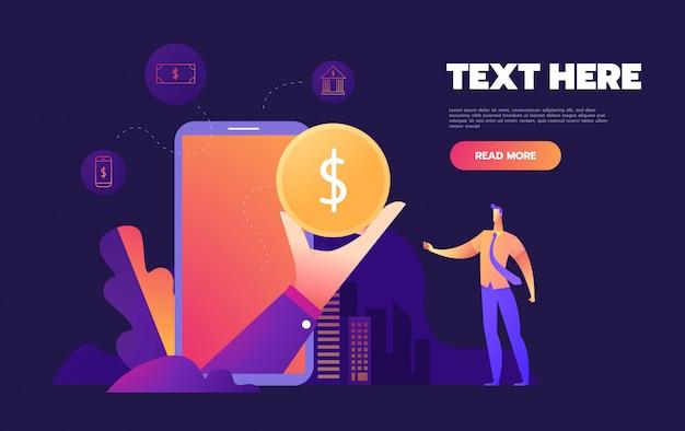 Mobiel bankieren concept, plat stijlvol pictogramontwerp,,