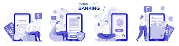Mobiel bankieren geïsoleerde set in plat ontwerp mensen maken financiële transacties met behulp van applicatie