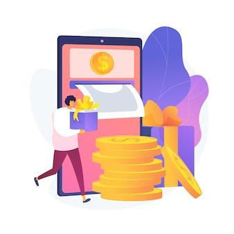 Mobiel bankieren. geld teruggeven van aankopen. voer financiële transacties op afstand uit met een mobiel apparaat. vector geïsoleerde concept metafoor illustratie