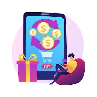 Mobiel bankieren. geld teruggeven van aankopen. voer financiële transacties op afstand uit met een mobiel apparaat