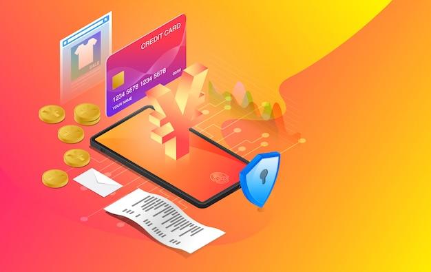 Mobiel bankieren, online bankieren, e-banksysteem, online betalingssysteem, gebruik mobiel bankieren applicatie, premium vector